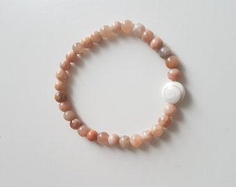 Shiva eye and Moonstone beaded bracelet
