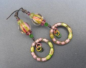 Boho earrings,Dangle earrings,Enamel earrings,Lampwork earrings,Hoop earrings,Multicolour earrings,OOAK earrings,Green earrings