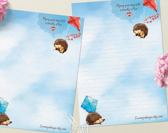 Flying hedgehog - DOWNLOAD file - Printable Writing paper - A5 size