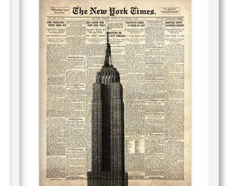 Empire State Building on New York Times paper. NYC wall art print 8x10. Free shipping.