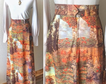 True Vintage 70s Romantic Novelty Print Maxi Skirt
