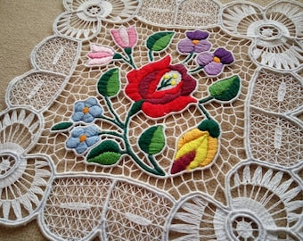 """Handmade 8"""" cutwork embroidery doily. Richelieu lacework with Hungarian, Kalocsa-style floral motif."""
