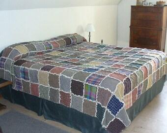Custom Rag Quilt, King Rag Quilt, Homespun Rag Quilt, Primitive Rag Quilt, Farmhouse Quilt, Rag Quilt