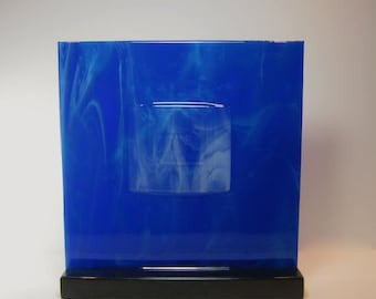 Art Glass Sculpture Abstract Moody Blue Icy Cloudy Smokey Sky Home Decor Panel Artist Signed