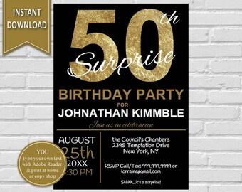 50th Surprise Birthday Invitation   50th Birthday, Surprise Birthday, Adult birthday, Surprise Invitation, 50th, Surprise Printable