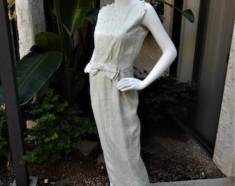 Vintage 1960's Light Blue Metallic Brocade Evening Dress - Size 6
