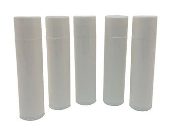Set of 10 Empty Lip Balm Tubes Lip Balm Containers WHITE