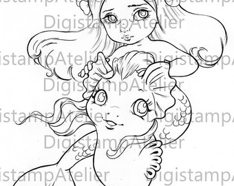 Mermaid best friend. INSTANT DOWNLOAD Digital Digi Stamps.