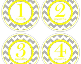Baby Month to Month Stickers, Monthly Birthday Stickers for Baby, Chevron Photo Prop Birthday Stickers, Chevron and Yellow