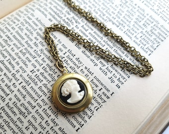 Cameo locket necklace, vintage inspired brass round locket, black & white cameo on antique bronze chain