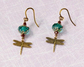 Firefly and Crystal Dangling Earrings