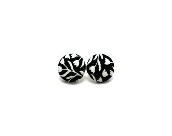 Black and white floral earrings - flower fabric button earrings - monochrome earrings - handmade earrings - hypoallergenic earrings