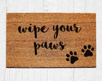 Wipe Your Paws Doormat | Welcome Mat | Door Mat | Outdoor Rug | Funny  Doormat | Dog Gift | Urban Owl