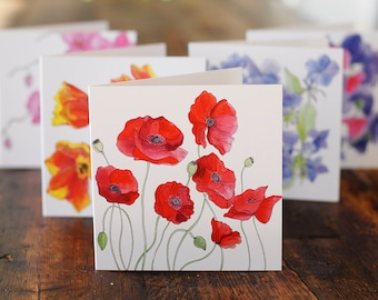 Floral Gift Card Pack. 5 Different Flowers. Perfect Hostess or Holiday Gift. 5x5. Blank Inside.