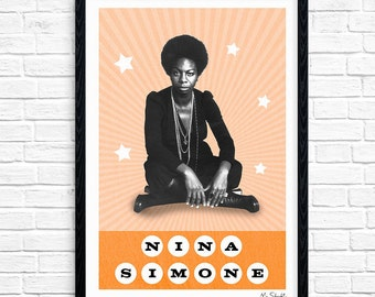 Nina Simone - Superstar, Soul Singer, Music Print, Legend, Music Gift, Music Typography, Poster Design, A4, A3.