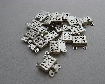 10 versilbert Stück filigrane quadratisches Feld SPANGEN 15 X 10 mm