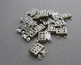 10 pcs Filigree square box CLASPS silver plated 15mm X 10mm