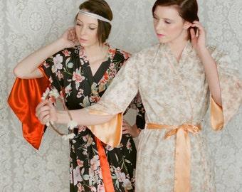 The Angel and the Haiku. One custom Lined long robe Full length dressing gown Art deco robe Bridal robe
