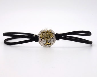 Choker collar necklace life tree black gold