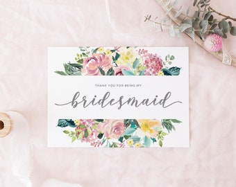 Thank you for being my bridesmaid, wedding thank you, bridesmaid thank you card, thank you card, thank you bridesmaid card, wedding card