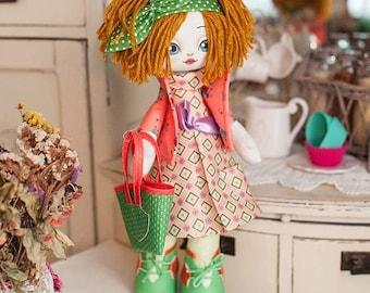 "Doll Making Kit, Set for sewing doll, Textile doll ""Housewife"", Set for textile doll, Handmade doll, Sewing kit"