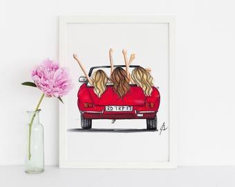 The Red Car (Fashion Illustration- Fashion Print- Fashion Art - Art - Home Decor - Wall Art - Custom Print)