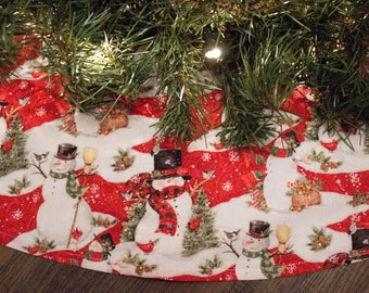 Christmas Tree Skirt-Snowman-Snow-Snowmen-Woodland-42""