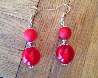 Earrings dangle earrings silver and red beads