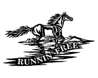 "CNC Plasma ""Runnin' Free"" Horse Metal Sign Powder Coated or Raw Steel"