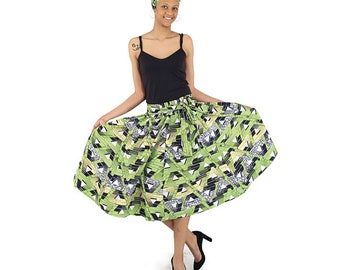 African Print Skirt - Lime Triangles