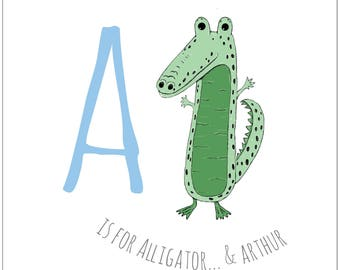 A is for... Alligator. Illustrated personalised child's print. Naming gift. Christening gift. Birthday gift