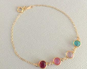 Family Birthstone Bracelet, Mother's Bracelet, Mother's Day Gift, Sister Bracelet, Best Friend Gift, Daughter Bracelet, Stone Bracelet