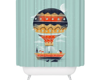 Balloon Shower Curtain, Floating House, Colorful Flying House, Whale Shower Curtain,  Made in USA - Great Decoration Gift for Bathroom