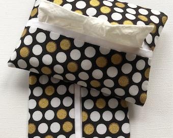 Purse Tissue Holders, Elegant Black, Gold and White Dot Fabric, Travel Tissue Case, Handmade, Purse Accessory, gift under 10