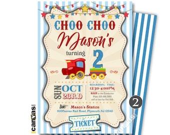 Train Birthday Invitation Choo Choo Invitations Train Party Train Locomotive Travel Boys Blue Stripes Red Printable or Printed FREE SHIP 131