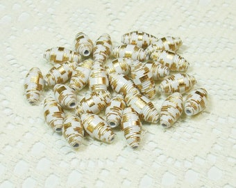 Paper Beads, Loose Handmade Jewelry Supplies Barrel Gold Foil and White Stripes