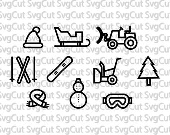 Winter cut files Snow blower Snowman Snow glasses Skis Sledge Hat Snowboard Winter skiing SVG cutting files for Silhouette and cricut