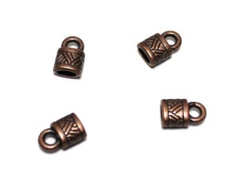 Set of 4 spirit cord end tips Tibetan red copper nickel free