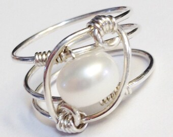 White Pearl Ring, Pearl Jewelry, Pearl Ring, Sterling Silver Ring, Sterling Rings for Women, June Birthstone, Silver Rings for Women