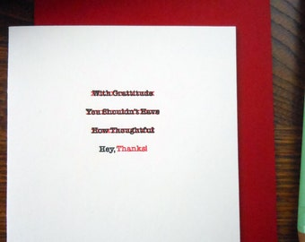 letterpress edited thank you greeting card pack/6 hey, thanks! typewriter correction red & black ink on cream paper