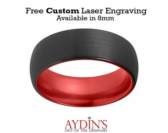 Tungsten Red Ring  Mens Wedding Band  Black Tungsten Brushed  Fire Red Tungsten Tungsten Wedding Ring Man Tungsten Ring - 6mm - 8mm