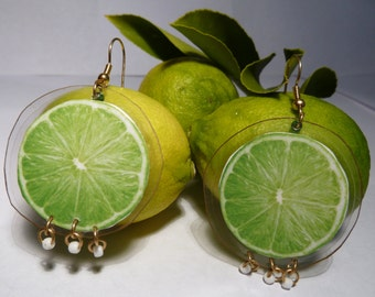 Lime Earrings-Lime Slice-Green Earrings-Carmen Miranda-Fruit Earrings-Lightweight-Laminated Earrings-Dangle Earrings-Culinary-Fun
