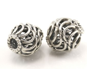 Two Bali Sterling Silver 925 Beads - Hand-crafted in Bali, Indonesia Silver Beads