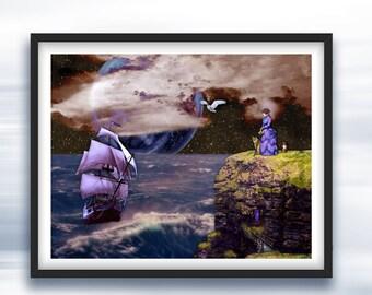 Moon Goddess Spiritual Journey Art - Art Prints - Original Conceptual Art Photography - Summoning the Quest