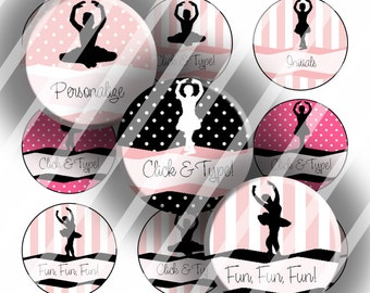 "Editable Bottle Cap Collage Sheet - Ballerina (141) - 1"" Digital Bottle Cap Images"