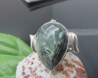 Seraphanite Ring, 925 Sterling Silver Ring, Gemstone Rings, Crystal Rings, Healing Rings