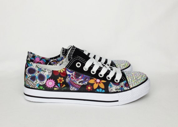 Excellent Day of the dead custom shoes women shoes sugar skull shoes XL59
