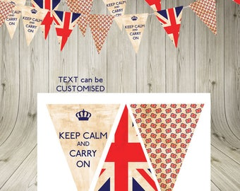 Vintage Jubilee Union Jack Bunting Garland Flags- Keep Calm and Carry On-INSTANT DIGITAL DOWNLOAD