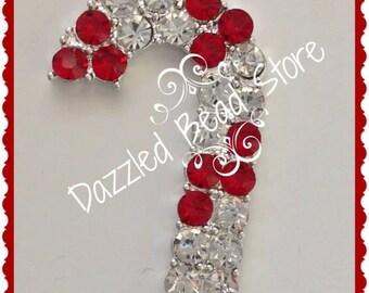 Rhinestone Christmas CANDY CANE bling pendant