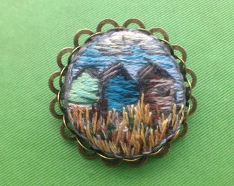 Hand Embroidered Brooch, West Beach, Whitstable